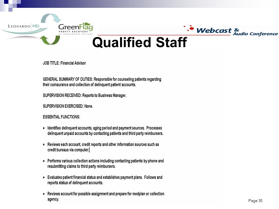 Page 30 Qualified Staff