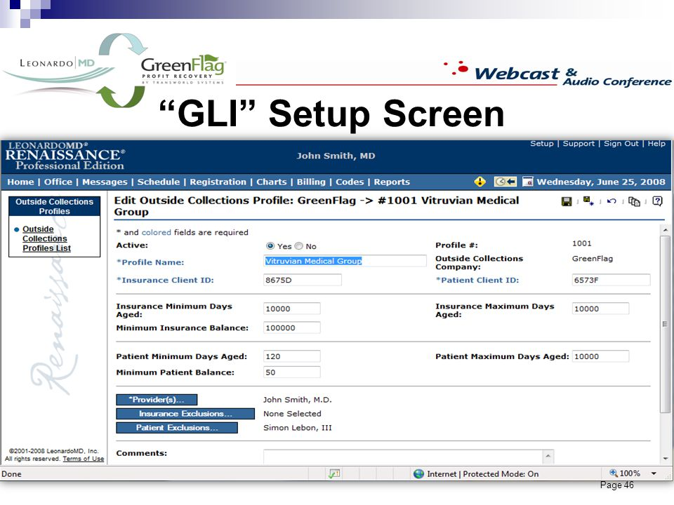 Page 46 GLI Setup Screen