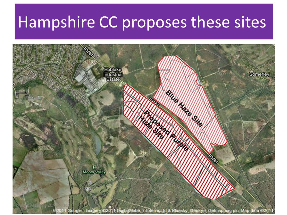 Hampshire CC proposes these sites Public Meeting 20/6/201110