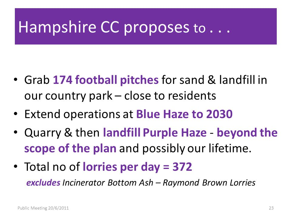 Public Meeting 20/6/201123 Hampshire CC proposes to...