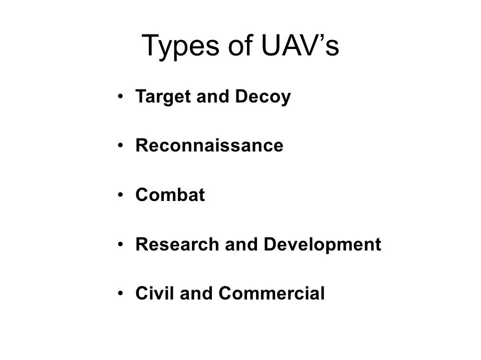 Types of UAVs Target and Decoy Reconnaissance Combat Research and Development Civil and Commercial