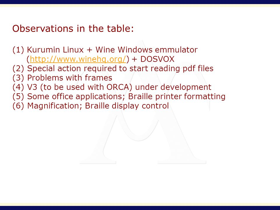 Observations in the table: (1) Kurumin Linux + Wine Windows emmulator (http://www.winehq.org/) + DOSVOXhttp://www.winehq.org/ (2) Special action required to start reading pdf files (3) Problems with frames (4) V3 (to be used with ORCA) under development (5) Some office applications; Braille printer formatting (6) Magnification; Braille display control