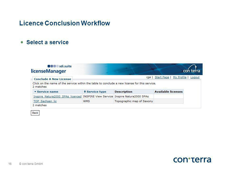 © con terra GmbH 16 Select a service Licence Conclusion Workflow