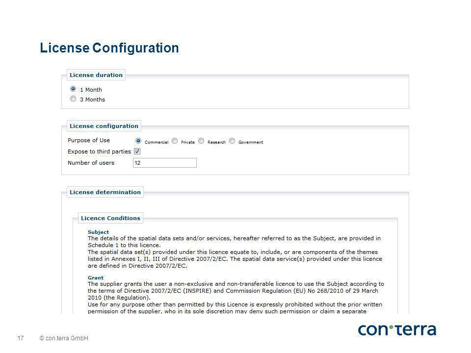 © con terra GmbH 17 License Configuration