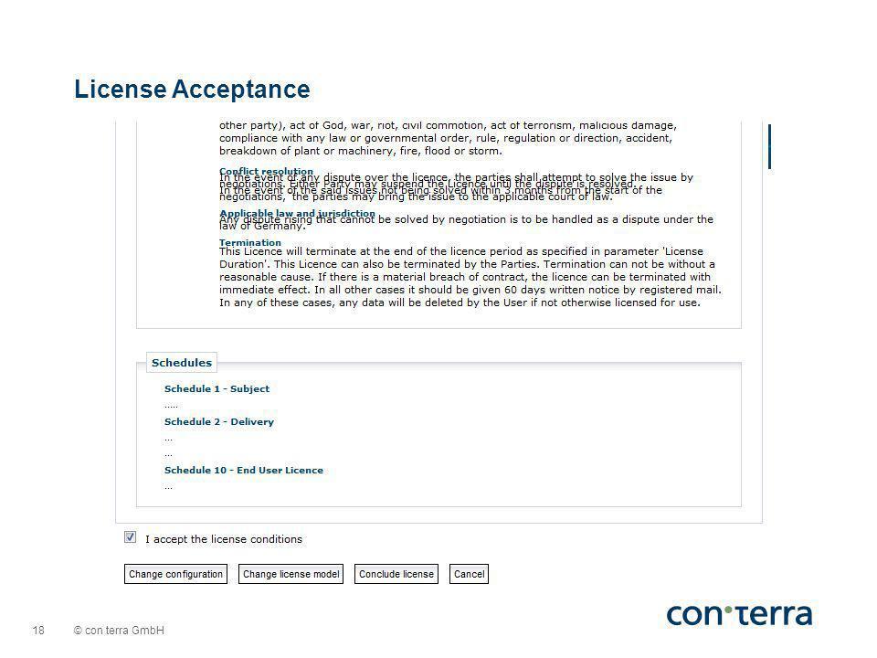 © con terra GmbH 18 License Acceptance