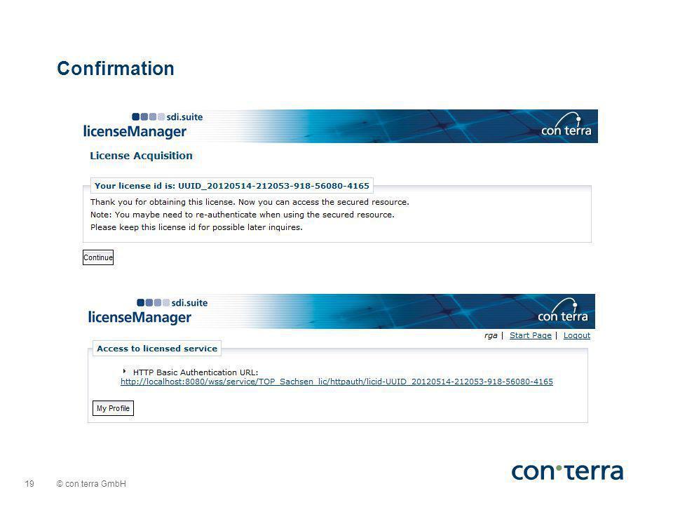 © con terra GmbH 19 Confirmation