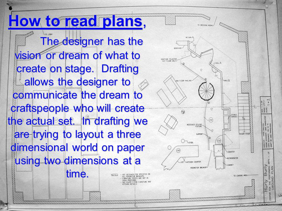 How to read plans, The designer has the vision or dream of what to create on stage.
