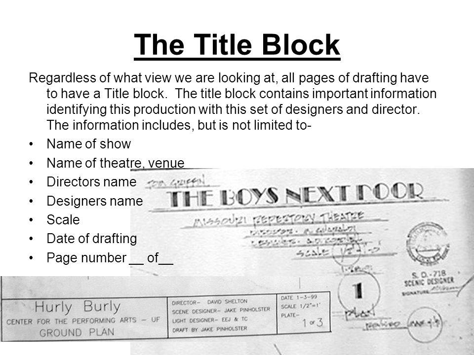 The Title Block Regardless of what view we are looking at, all pages of drafting have to have a Title block.