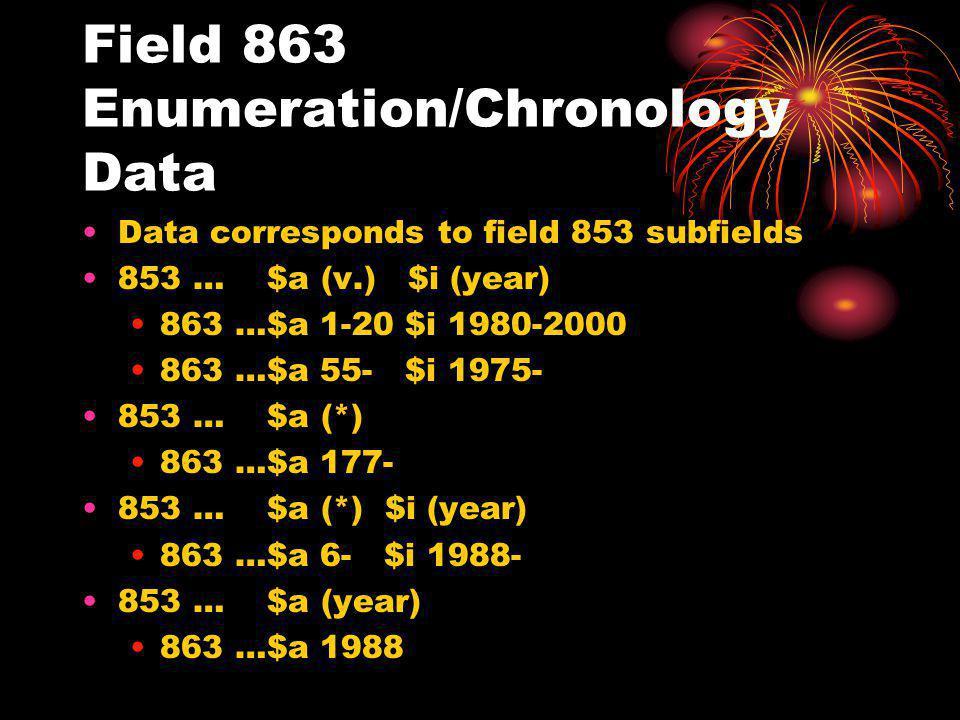 Field 863 Enumeration/Chronology Data Data corresponds to field 853 subfields 853 … $a (v.) $i (year) 863 …$a 1-20 $i 1980-2000 863 …$a 55- $i 1975- 853 … $a (*) 863 …$a 177- 853 … $a (*) $i (year) 863 …$a 6- $i 1988- 853 … $a (year) 863 …$a 1988