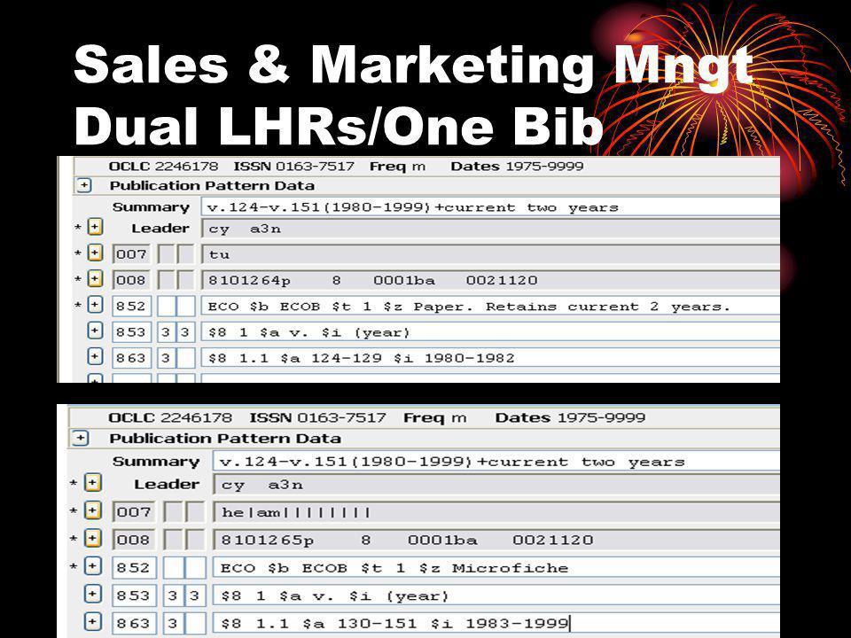 Sales & Marketing Mngt Dual LHRs/One Bib