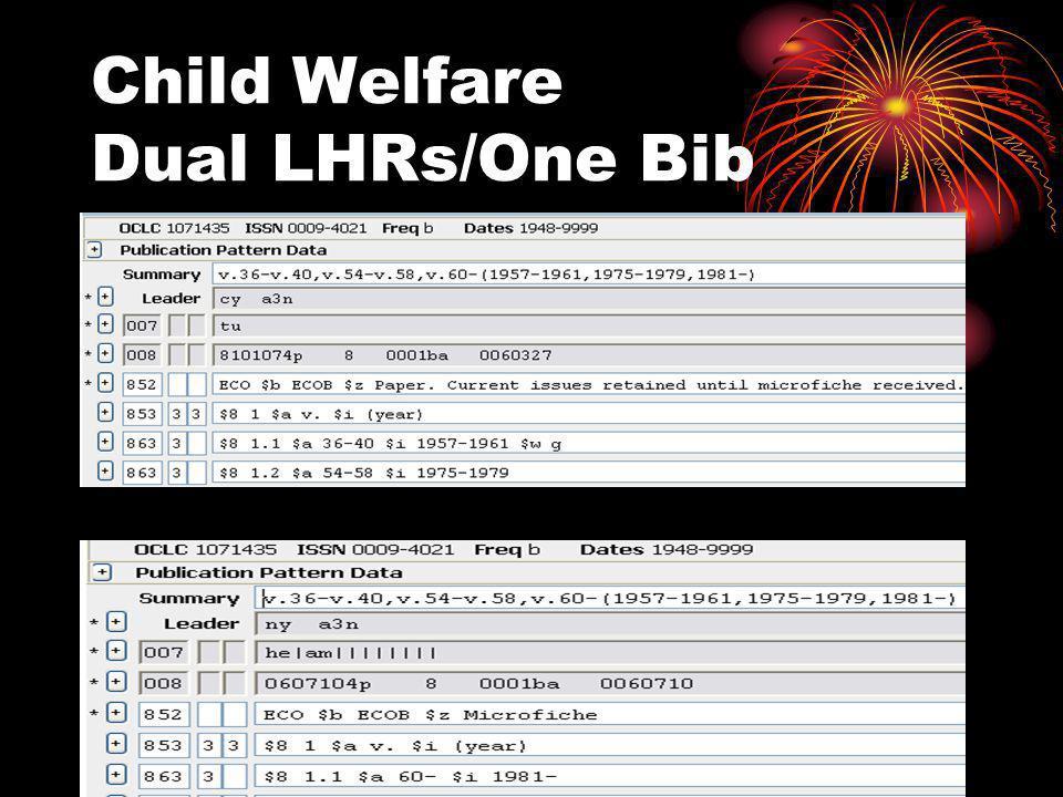 Child Welfare Dual LHRs/One Bib