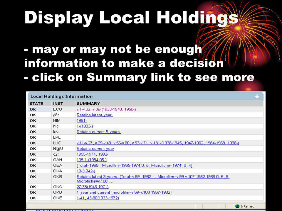 Display Local Holdings - may or may not be enough information to make a decision - click on Summary link to see more