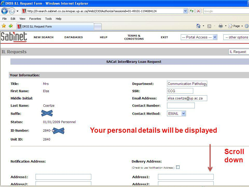 Your personal details will be displayed Scroll down