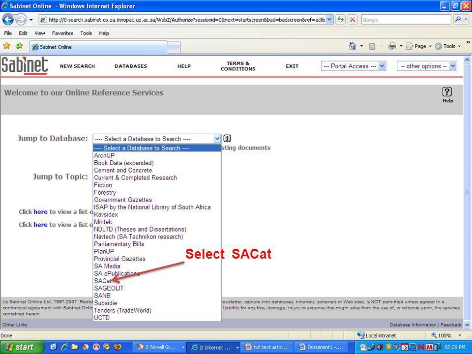 Select SACat