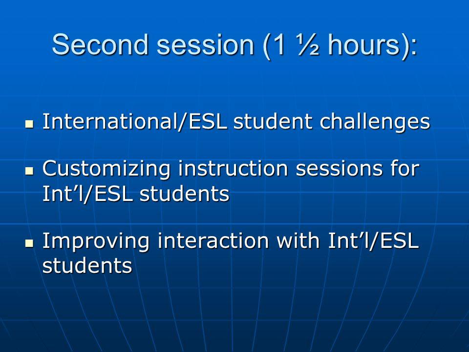 Second session (1 ½ hours): International/ESL student challenges International/ESL student challenges Customizing instruction sessions for Intl/ESL st
