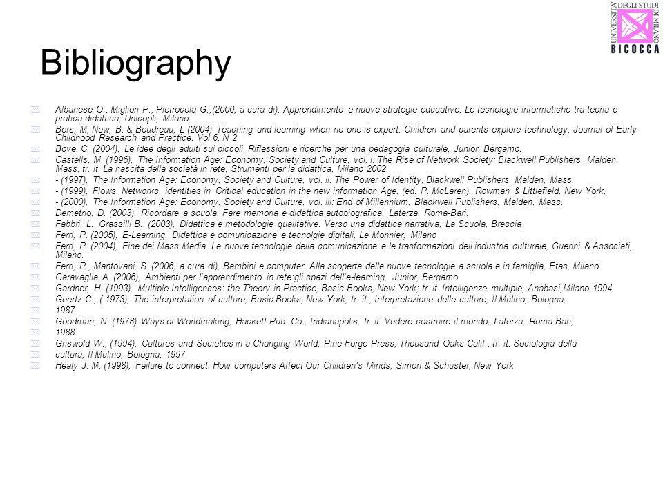Bibliography Albanese O., Migliori P., Pietrocola G.,(2000, a cura di), Apprendimento e nuove strategie educative. Le tecnologie informatiche tra teor