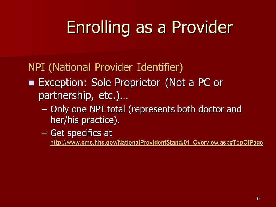 6 NPI (National Provider Identifier) Exception: Sole Proprietor (Not a PC or partnership, etc.)… Exception: Sole Proprietor (Not a PC or partnership, etc.)… –Only one NPI total (represents both doctor and her/his practice).