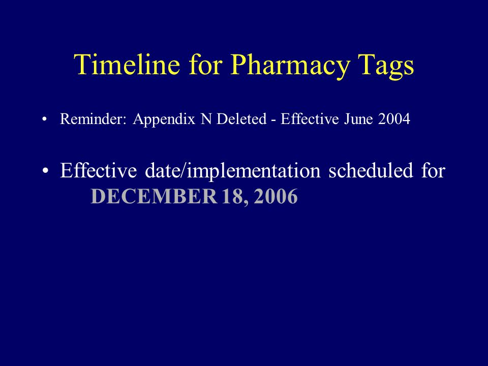 Timeline for Pharmacy Tags Reminder: Appendix N Deleted - Effective June 2004 Effective date/implementation scheduled for DECEMBER 18, 2006