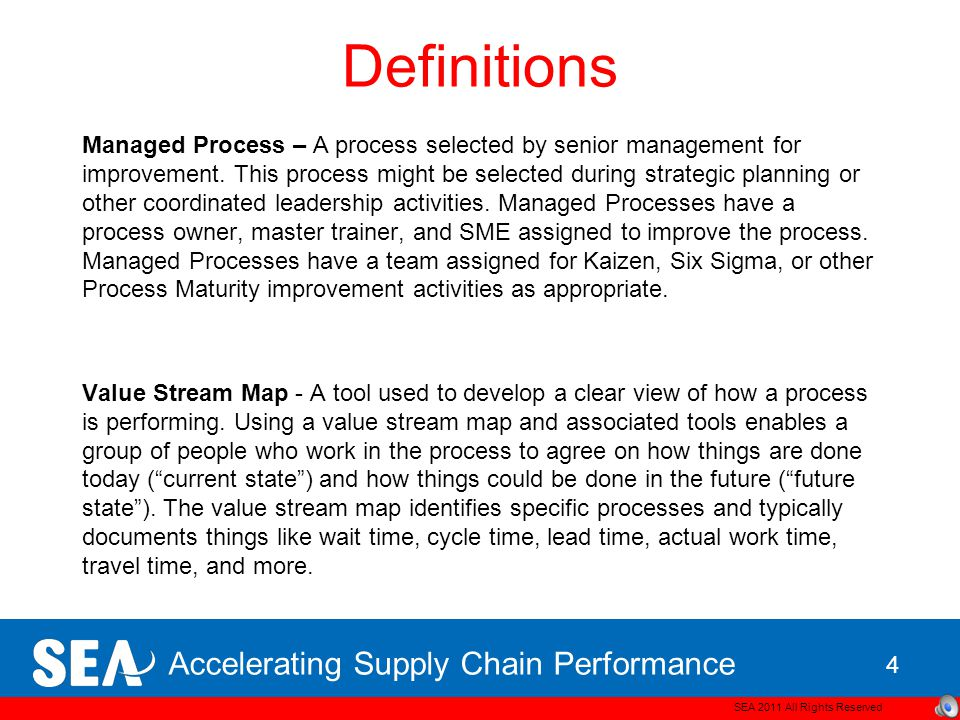 Accelerating Supply Chain Performance Definitions Process – A series of steps to produce an intended output.
