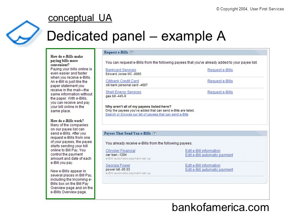 Dedicated panel – example A bankofamerica.com conceptual UA © Copyright 2004, User First Services