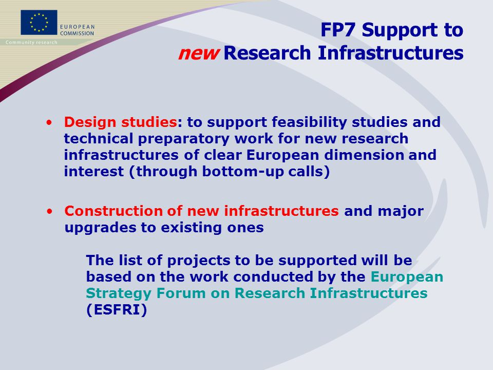 FP7 Support to new Research Infrastructures Design studies: to support feasibility studies and technical preparatory work for new research infrastructures of clear European dimension and interest (through bottom-up calls) Construction of new infrastructures and major upgrades to existing ones The list of projects to be supported will be based on the work conducted by the European Strategy Forum on Research Infrastructures (ESFRI)