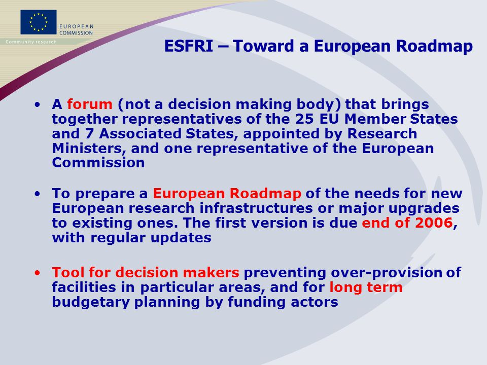 ESFRI – Toward a European Roadmap Tool for decision makers preventing over-provision of facilities in particular areas, and for long term budgetary planning by funding actors A forum (not a decision making body) that brings together representatives of the 25 EU Member States and 7 Associated States, appointed by Research Ministers, and one representative of the European Commission To prepare a European Roadmap of the needs for new European research infrastructures or major upgrades to existing ones.