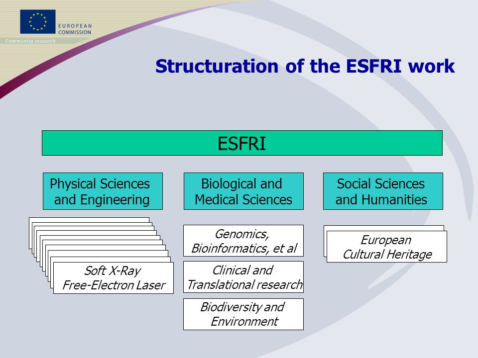ESFRI Physical Sciences and Engineering Biological and Medical Sciences Social Sciences and Humanities Clinical and Translational research Biodiversity and Environment Genomics, Bioinformatics, et al Soft X-Ray Free-Electron Laser European Cultural Heritage Structuration of the ESFRI work