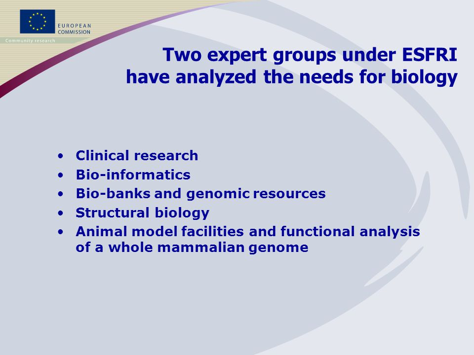 Clinical research Bio-informatics Bio-banks and genomic resources Structural biology Animal model facilities and functional analysis of a whole mammalian genome Two expert groups under ESFRI have analyzed the needs for biology