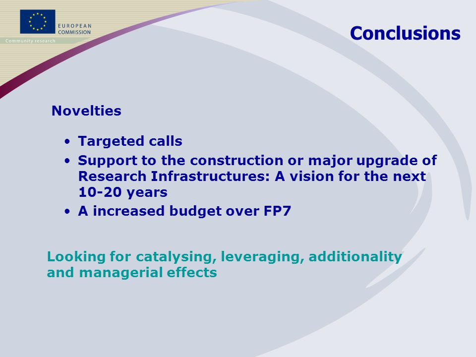 Targeted calls Support to the construction or major upgrade of Research Infrastructures: A vision for the next 10-20 years A increased budget over FP7 Conclusions Novelties Looking for catalysing, leveraging, additionality and managerial effects