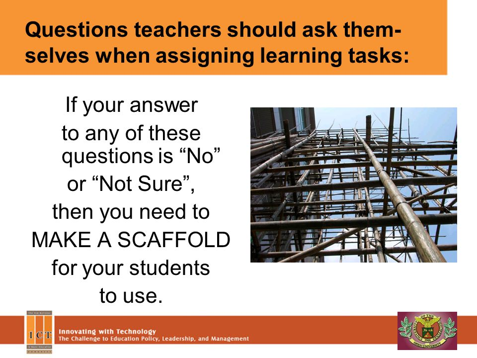 If your answer to any of these questions is No or Not Sure, then you need to MAKE A SCAFFOLD for your students to use.