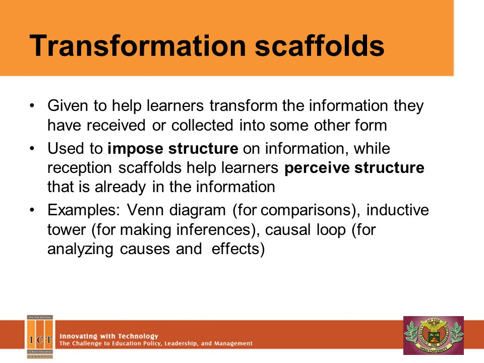 Production scaffolds Provided to help learners produce something observable that conveys what they have learned Useful when the form of what is to be produced follows the conventions of a genre, publication or presentation format Examples: presentation template, outline, story map, play structure, writing guide/template