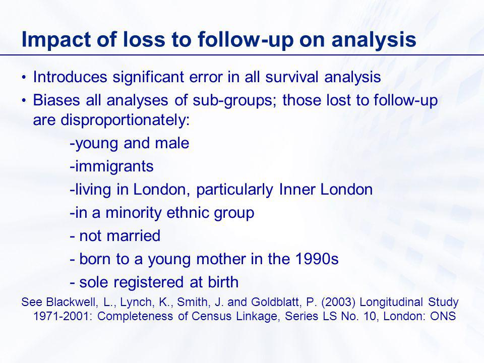 Impact of loss to follow-up on analysis Introduces significant error in all survival analysis Biases all analyses of sub-groups; those lost to follow-up are disproportionately: -young and male -immigrants -living in London, particularly Inner London -in a minority ethnic group - not married - born to a young mother in the 1990s - sole registered at birth See Blackwell, L., Lynch, K., Smith, J.