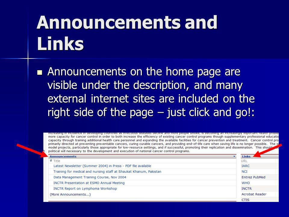 Announcements and Links Announcements on the home page are visible under the description, and many external internet sites are included on the right s