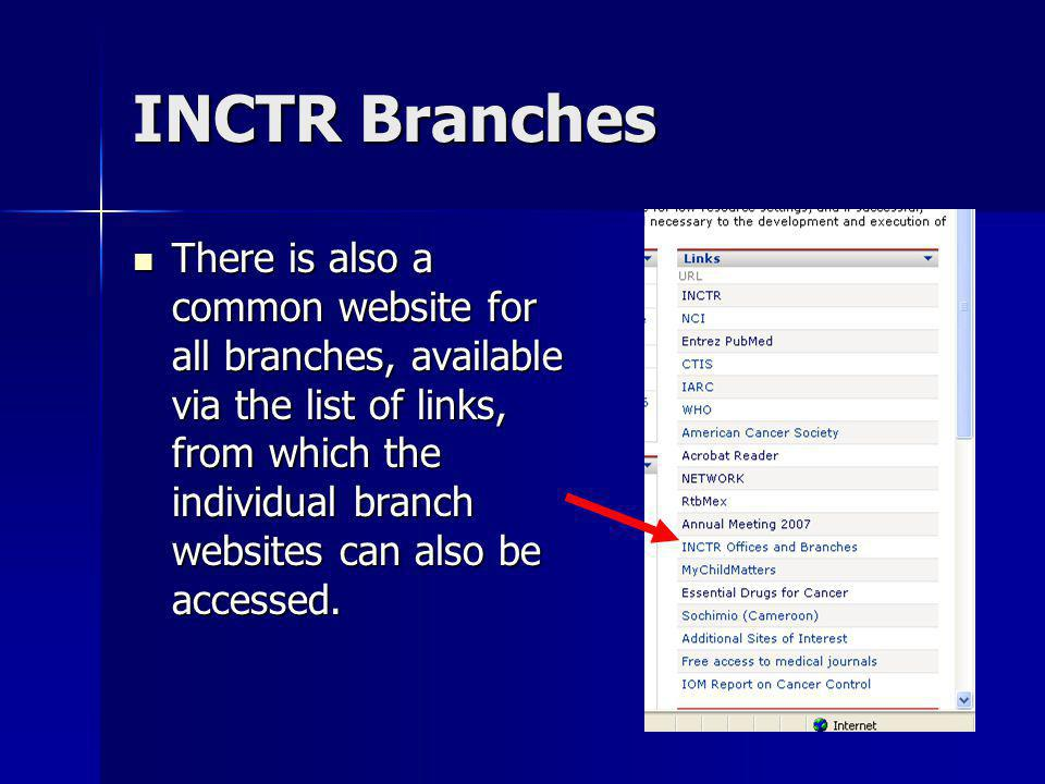 INCTR Branches There is also a common website for all branches, available via the list of links, from which the individual branch websites can also be accessed.