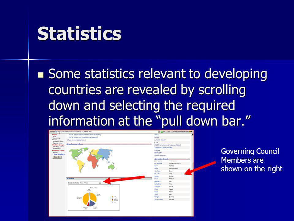 Statistics Some statistics relevant to developing countries are revealed by scrolling down and selecting the required information at the pull down bar.