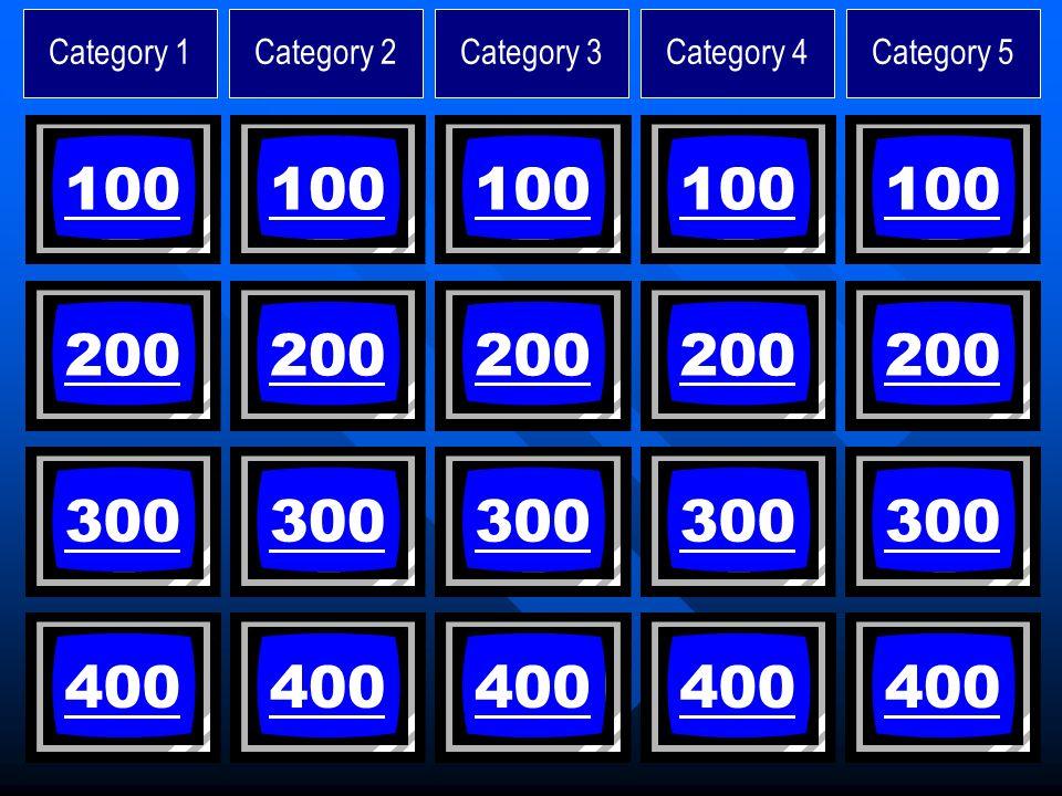 Category 1Category 2Category 3Category 4Category 5 100 200 300 400 100 200 300 400 100 200 300 400 100 200 300 400 100 200 300 400