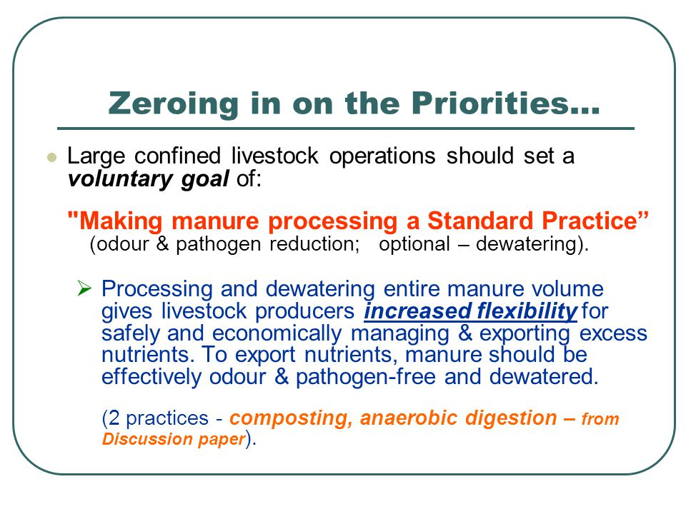 Large confined livestock operations should set a voluntary goal of: