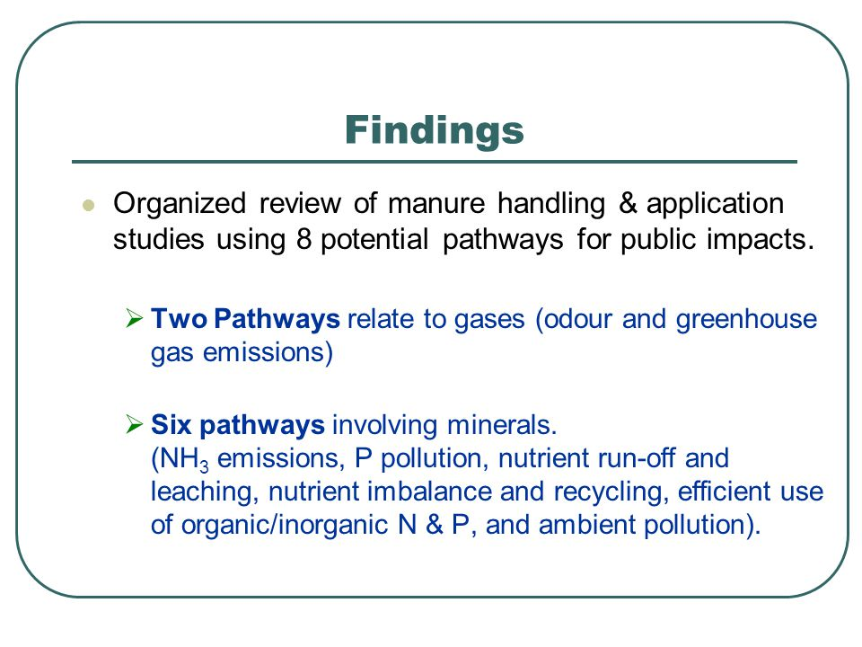 Organized review of manure handling & application studies using 8 potential pathways for public impacts.