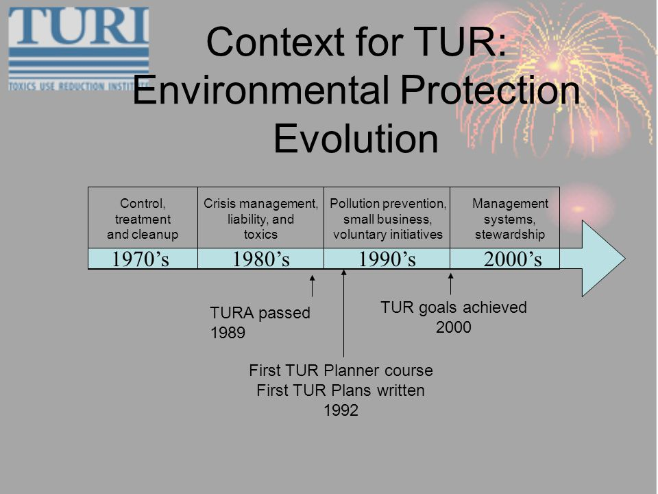 Context for TUR: Environmental Protection Evolution 2000s1970s1980s1990s Management systems, stewardship Control, treatment and cleanup Crisis management, liability, and toxics Pollution prevention, small business, voluntary initiatives TURA passed 1989 First TUR Planner course First TUR Plans written 1992 TUR goals achieved 2000