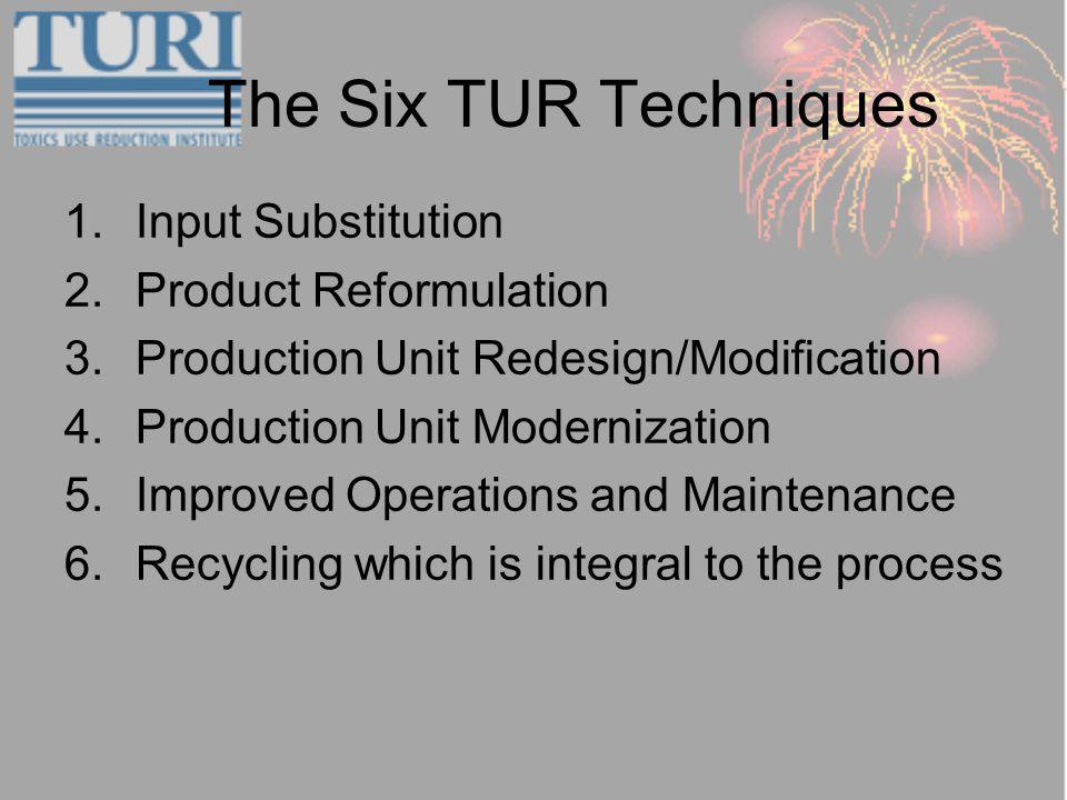 The Six TUR Techniques 1.Input Substitution 2.Product Reformulation 3.Production Unit Redesign/Modification 4.Production Unit Modernization 5.Improved