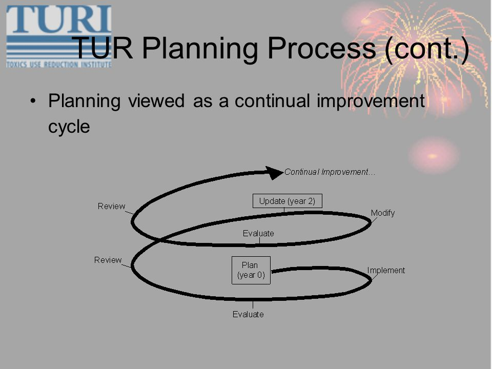 TUR Planning Process (cont.) Planning viewed as a continual improvement cycle