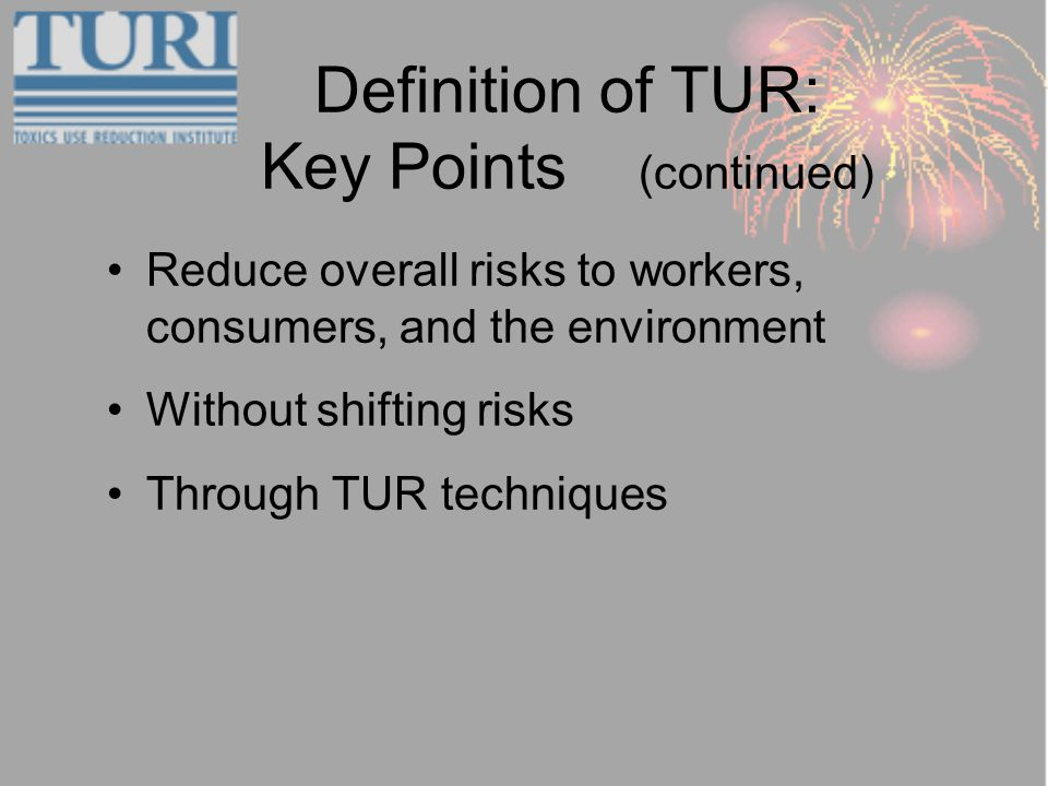 Definition of TUR: Key Points (continued) Reduce overall risks to workers, consumers, and the environment Without shifting risks Through TUR techniques