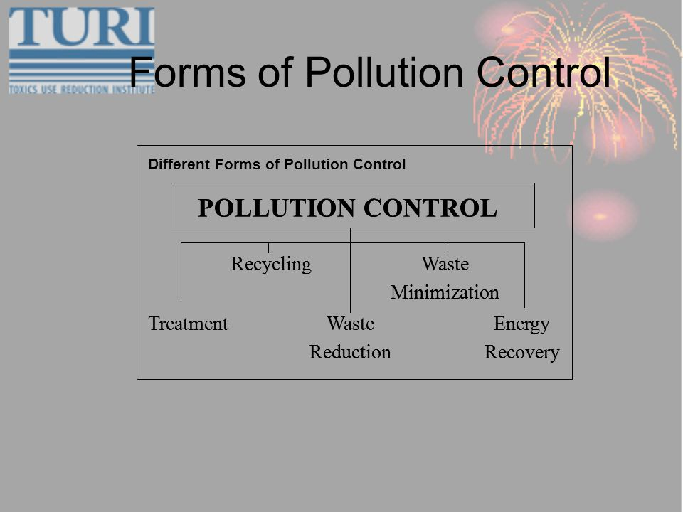 Forms of Pollution Control Treatment Waste Minimization Recycling Energy Recovery Waste Reduction POLLUTION CONTROL Treatment Waste Minimization Recycling Energy Recovery Waste Reduction POLLUTION CONTROL Different Forms of Pollution Control