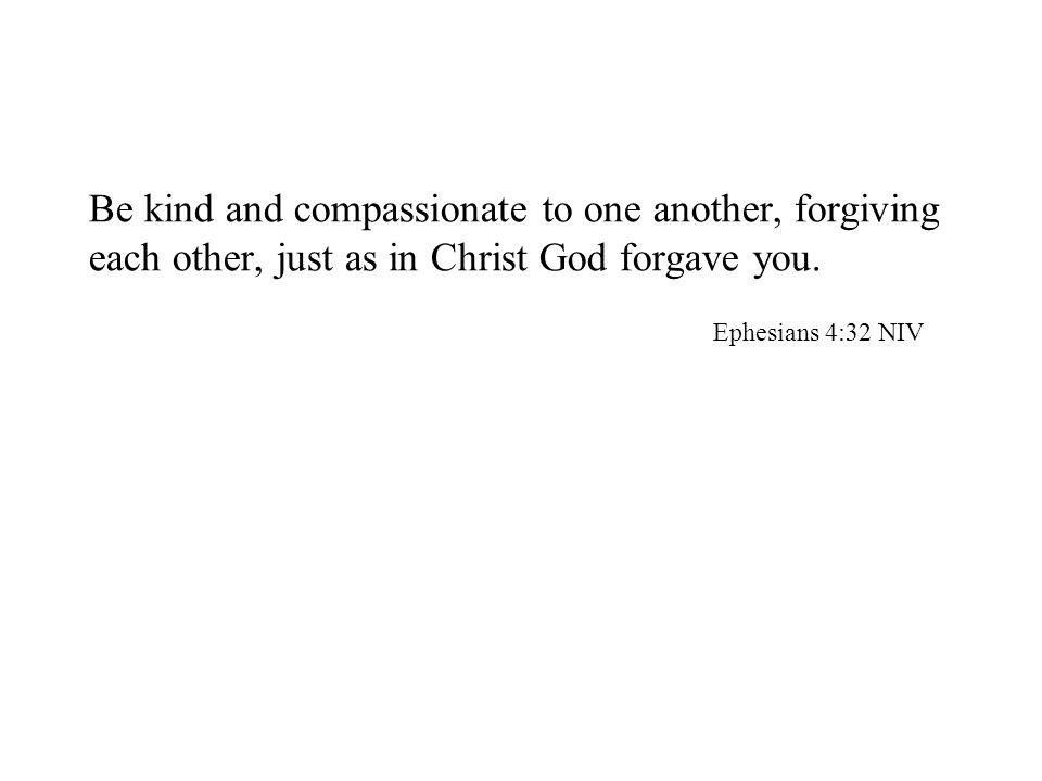 Be kind and compassionate to one another, forgiving each other, just as in Christ God forgave you. Ephesians 4:32 NIV