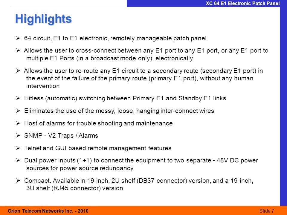 Slide 8 Orion Telecom Networks Inc.