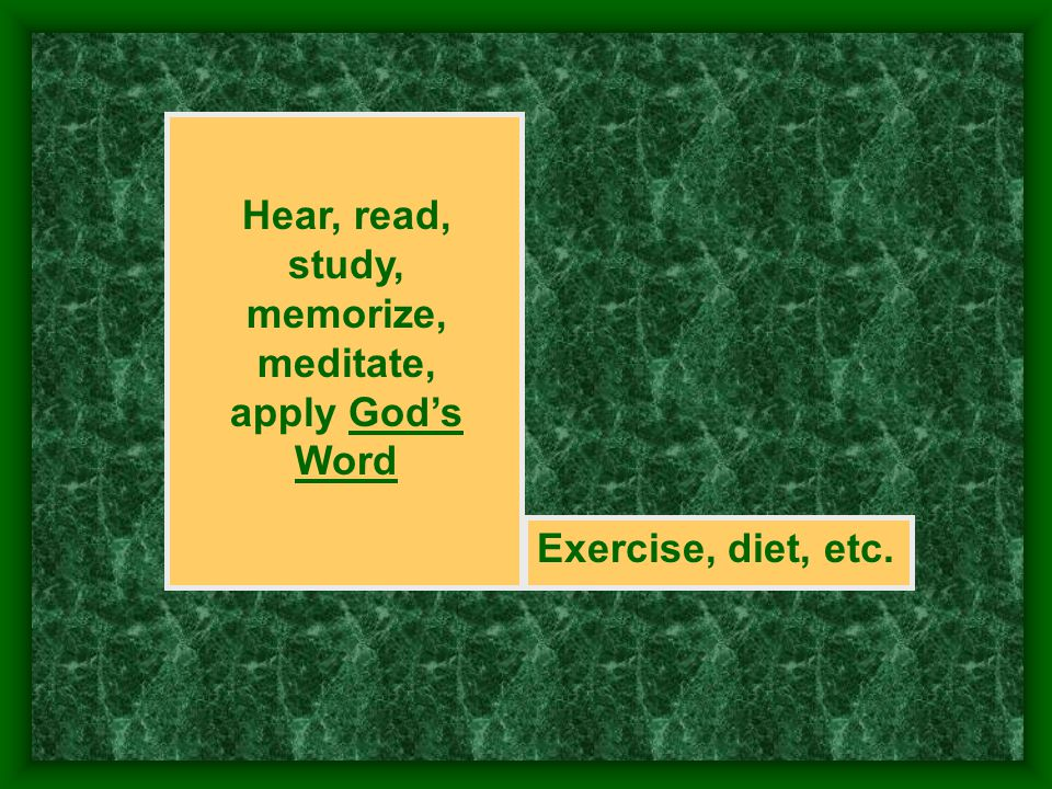 Hear, read, study, memorize, meditate, apply Gods Word Exercise, diet, etc.
