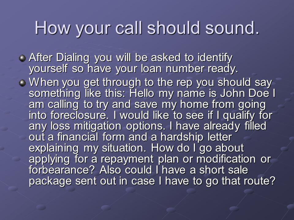 How your call should sound.