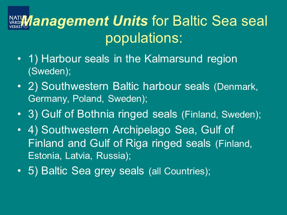 Management Units for Baltic Sea seal populations: 1) Harbour seals in the Kalmarsund region (Sweden); 2) Southwestern Baltic harbour seals (Denmark, Germany, Poland, Sweden); 3) Gulf of Bothnia ringed seals (Finland, Sweden); 4) Southwestern Archipelago Sea, Gulf of Finland and Gulf of Riga ringed seals (Finland, Estonia, Latvia, Russia); 5) Baltic Sea grey seals (all Countries);