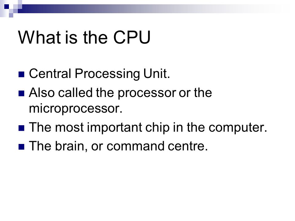 What is the CPU Central Processing Unit. Also called the processor or the microprocessor. The most important chip in the computer. The brain, or comma
