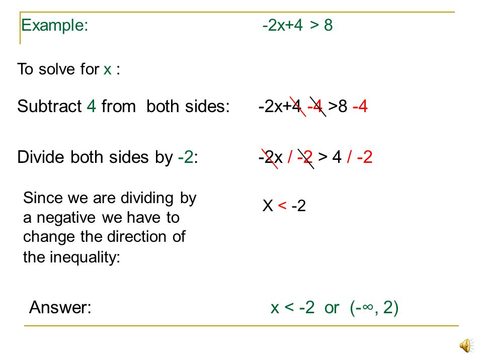 Solving Linear Inequalities of One Variable x+3 < 4 Example: x+3 < 4 is a linear inequality All of the rules that apply to equations also apply to ine